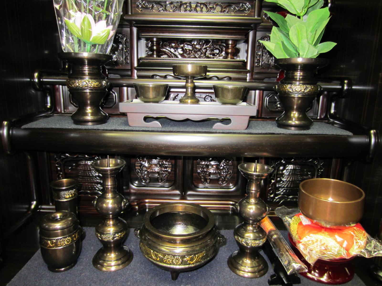金物仏具・陶器仏具もお好みで 香炉、花立、ローソク立からお茶碗、霊...  浜松市田町 仏壇・仏